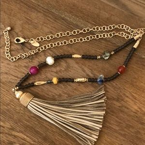NWOT Gorgeous faux leather tassel & bead necklace